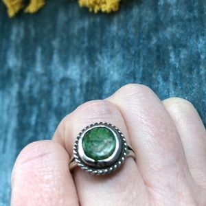 Vintage Green Turquoise Sterling Ring